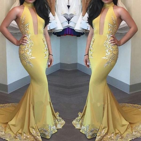 Prom GownYellow Mermaid Appliques Beautiful High-Neck Keyhole Evening Dress Evening Gown