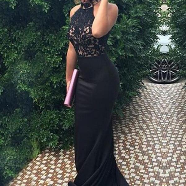 Halter Sexy Mermaid Sweep Train Long Prom Prom Dresses For Teens,Black Lace Prom Gowns,Sexy Evening Dresses,Pretty Party Dresses
