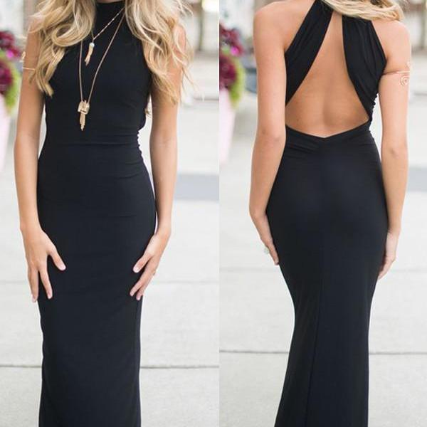 Sexy Black Open Back Prom Dresses,Long Prom Dresses For Teens, Simple Prom Gowns,Cheap Party Prom Dresses,Women Dresses,Women Dresses
