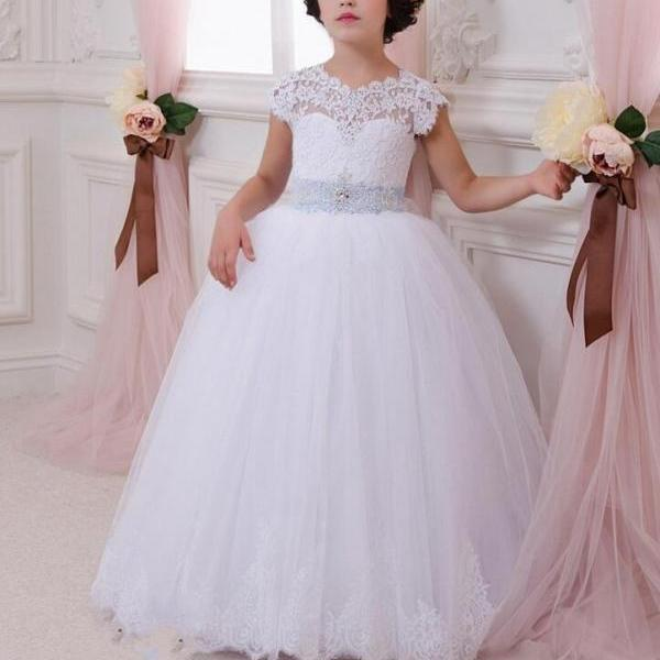 Flower Girl Dresses with Bow Ball Gown Party Pageant Communion Dress Little Girls Kids/Children Dress for Wedding Kids