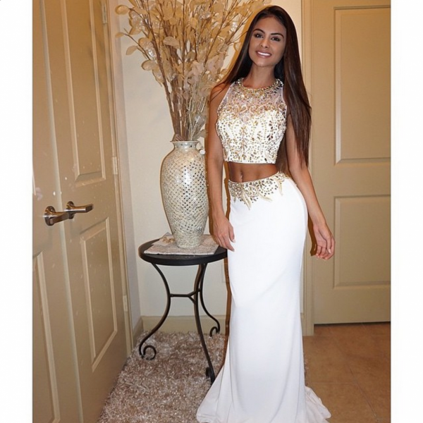 Custom Cheap Heavy Beaded 2 Two Pieces Long Elegant Ivory Mermaid Prom Dresses Gowns 2016 , Formal Evening Dresses Gowns, Homecoming Graduation Cocktail Party Dresses, Holiday Dresses, Plus size