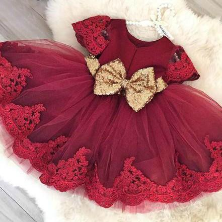 Flower girl dress, sequin flower girl dress, embroidered flower girl dress, red baby girl birthday outfit, red party dress, cheap baby girl party dress, baby girl lace dress