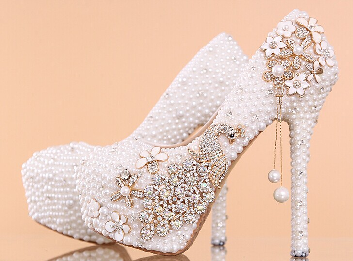 a1c79c8dc19 Pearl Wedding Shoes, Bridal Shoes, Bridal, Women Peep Toe Shoes Lady  Evening Party Club High Heel Dress Shoes,Women's Luxury Crystal Wedding  Shoes ...